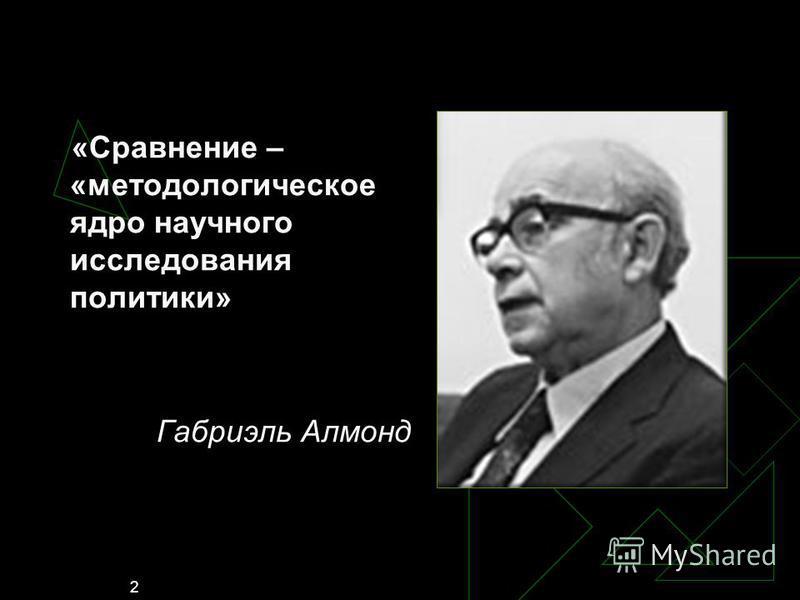 2 «Сравнение – «методологическое ядро научного исследования политики» Габриэль Алмонд