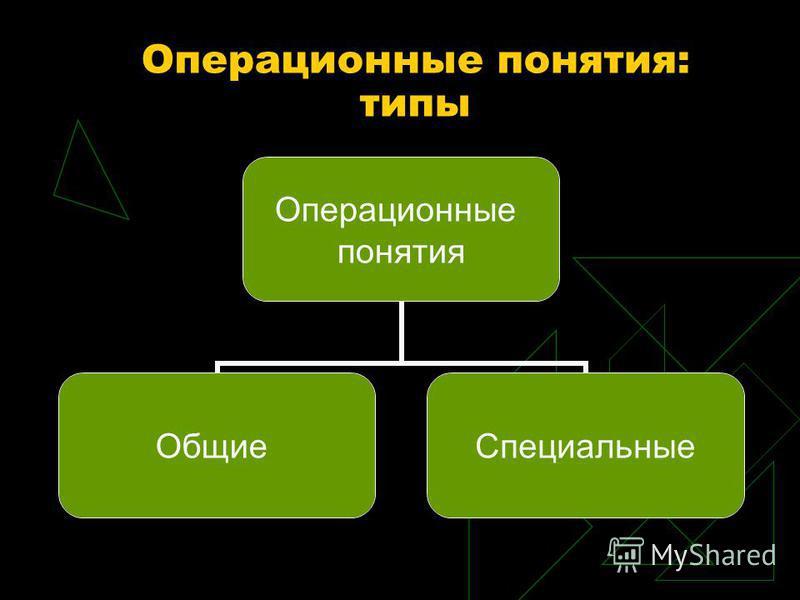 Операционные понятия: типы Операционные понятия Общие Специальные