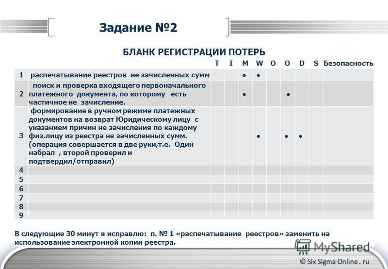 © Six Sigma Online. ru Задание 2 БЛАНК РЕГИСТРАЦИИ ПОТЕРЬ TIMWOODSБезопасность 1 распечатывание реестров не зачисленных сумм 2 поиск и проверка входящего первоначального платежного документа, по которому есть частичное не зачисление. 3 формирование в