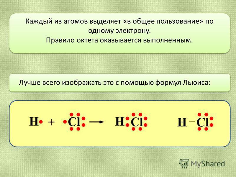 Лучше всего изображать это с помощью формул Льюиса: Каждый из атомов выделяет «в общее пользование» по одному электрону. Правило октета оказывается выполненным.