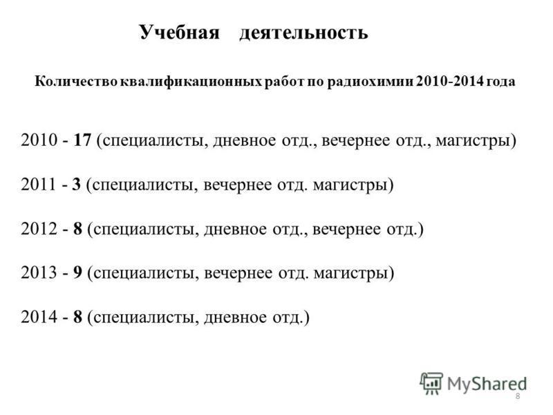 8 Количество квалификационных работ по радиохимии 2010-2014 года 2010 - 17 (специалисты, дневное отд., вечернее отд., магистры) 2011 - 3 (специалисты, вечернее отд. магистры) 2012 - 8 (специалисты, дневное отд., вечернее отд.) 2013 - 9 (специалисты,