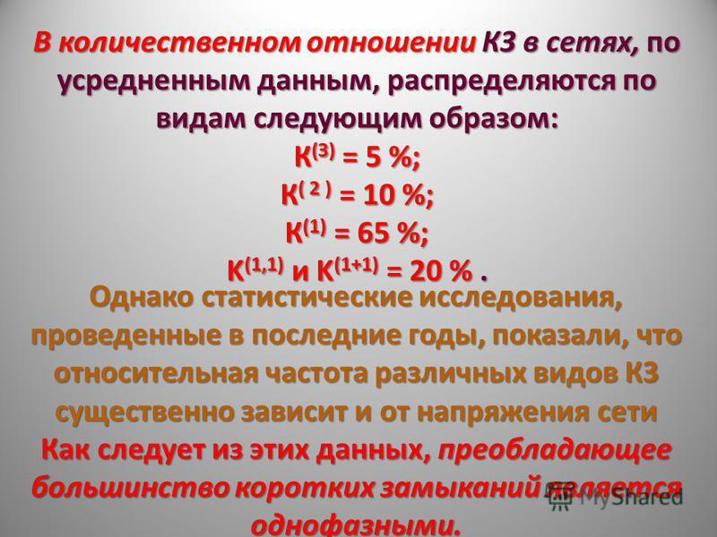 В количественном отношении К3 в сетях, по усредненным данным, распределяются по видам следующим образом: К (З) = 5 %; К ( 2 ) = 10 %; К (1) = 65 %; K (1,1) и K (1+1) = 20 %. Однако статистические исследования, проведенные в последние годы, показали,