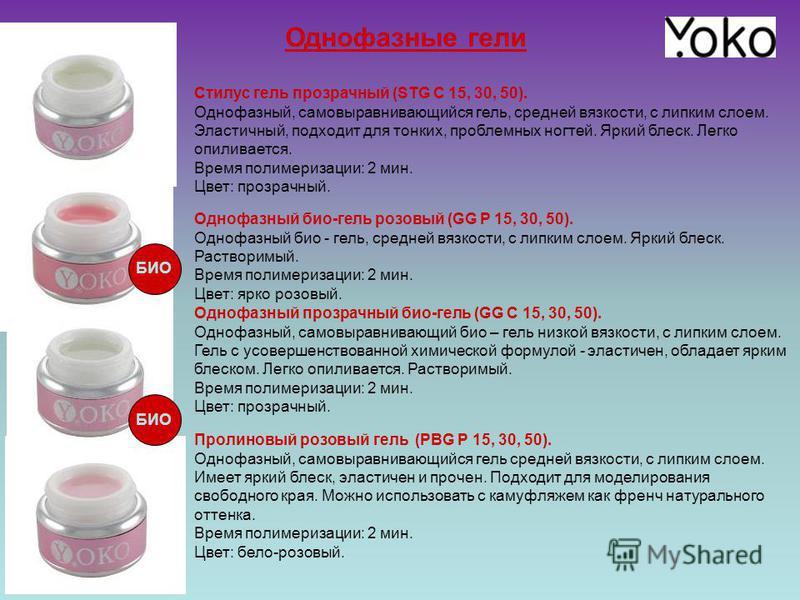 Однофазные гели Стилус гель прозрачный (STG C 15, 30, 50). Однофазный, самовыравнивающийся гель, средней вязкости, с липким слоем. Эластичный, подходит для тонких, проблемных ногтей. Яркий блеск. Легко опиливается. Время полимеризации: 2 мин. Цвет: п