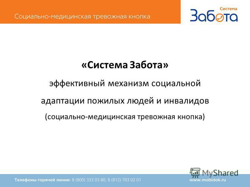 «Система Забота» эффективный механизм социальной адаптации пожилых людей и инвалидов (социально-медицинская тревожная кнопка)