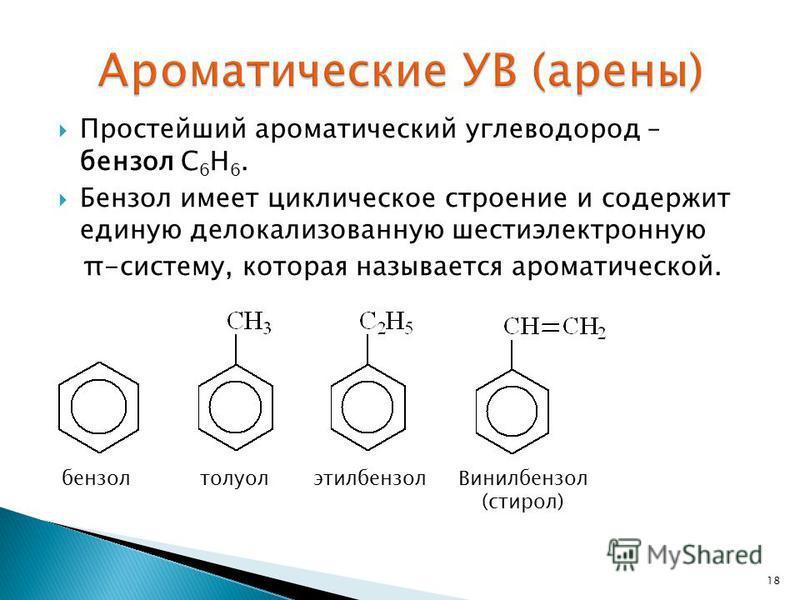 Простейший ароматический углеводород – бензол С 6 Н 6. Бензол имеет циклическое строение и содержит единую делокализованную шести электронную π-систему, которая называется ароматической. 18 бензол толуол этилбензол Винилбензол (стирол)