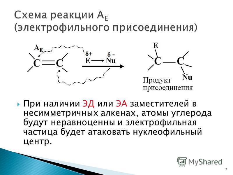 При наличии ЭД или ЭА заместителей в несимметричных алкенах, атомы углерода будут неравноценны и электрофильная частица будет атаковать нуклеофильный центр. 7
