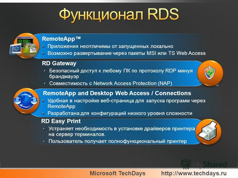 Microsoft TechDayshttp://www.techdays.ru RemoteApp Приложения неотличимы от запущенных локально Возможно развертывание через пакеты MSI или TS Web Access RemoteApp Приложения неотличимы от запущенных локально Возможно развертывание через пакеты MSI и