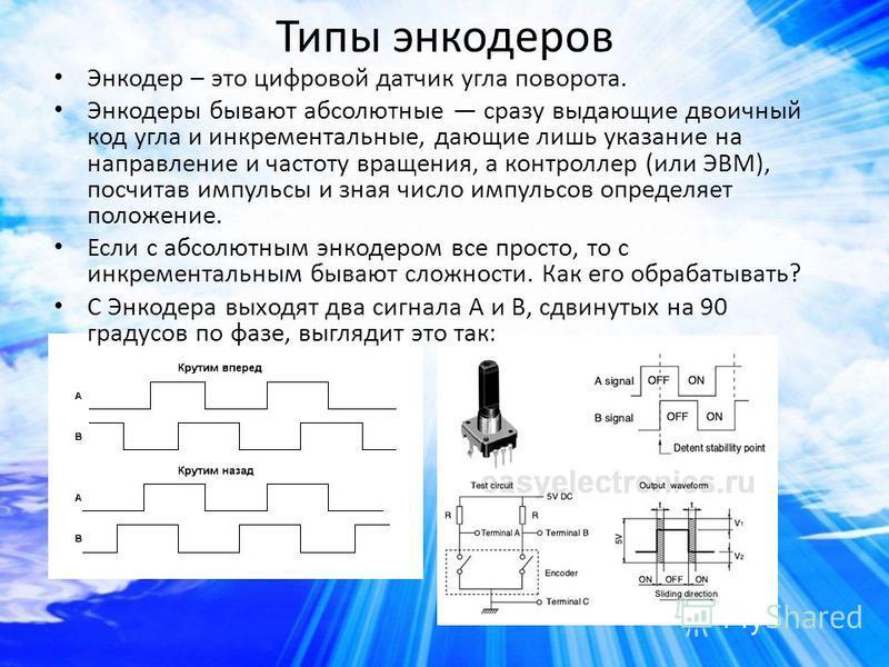 Типы энкодеров Энкодер – это цифровой датчик угла поворота. Энкодеры бывают абсолютные сразу выдающие двоичный код угла и инкрементальные, дающие лишь указание на направление и частоту вращения, а контроллер (или ЭВМ), посчитав импульсы и зная число