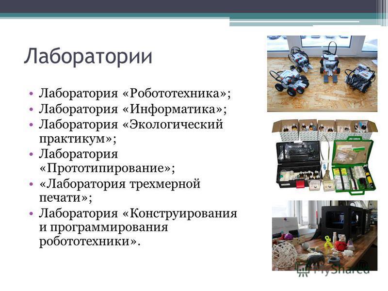 Лаборатории Лаборатория «Робототехника»; Лаборатория «Информатика»; Лаборатория «Экологический практикум»; Лаборатория «Прототипирование»; «Лаборатория трехмерной печати»; Лаборатория «Конструирования и программирования робототехники».