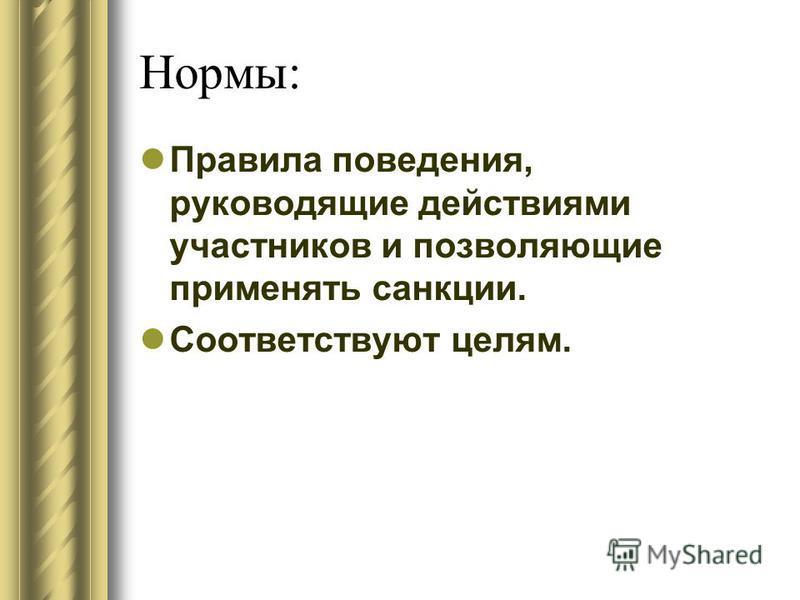 Нормы: Правила поведения, руководящие действиями участников и позволяющие применять санкции. Соответствуют целям.