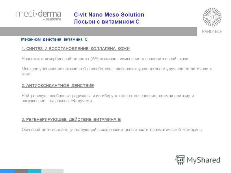 C-vit Nano Meso Solution Лосьон с витамином С Механизм действия витамина С 1. СИНТЕЗ И ВОССТАНОВЛЕНИЕ КОЛЛАГЕНА КОЖИ Недостаток аскорбиновой кислоты (AA) вызывает изменения в соединительной ткани. Местное увеличение витамина С способствует производст
