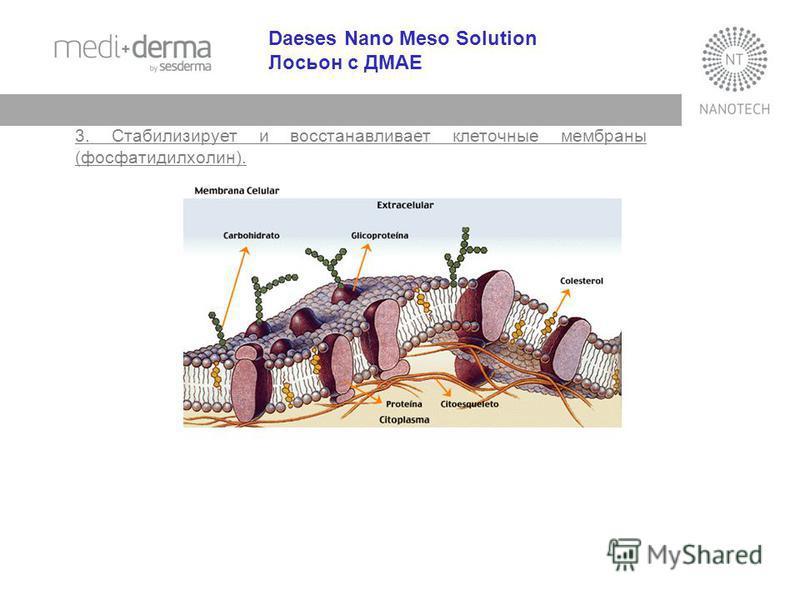 Daeses Nano Meso Solution Лосьон с ДМАЕ 3. Стабилизирует и восстанавливает клеточные мембраны (фосфатидилхолин).