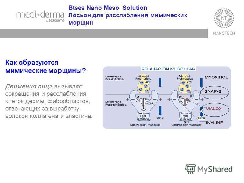 Btses Nano Meso Solution Лосьон для расслабления мимических морщин Как образуются мимические морщины? Движения лица вызывают сокращения и расслабления клеток дермы, фибробластов, отвечающих за выработку волокон коллагена и эластина.