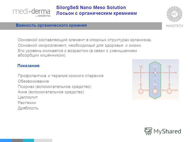 SilorgSeS Nano Meso Solution Лосьон с органическим кремнием Важность органического кремния Основной составляющий элемент в опорных структурах организма. Основной микроэлемент, необходимый для здоровья и жизни. Его уровень снижается с возрастом (в свя