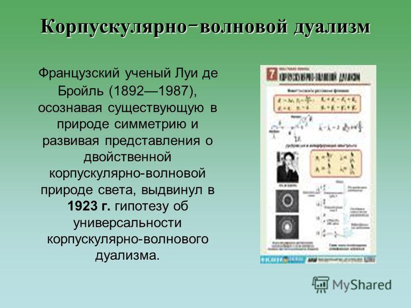 Французский ученый Луи де Бройль (18921987), осознавая существующую в природе симметрию и развивая представления о двойственной корпускулярно-волновой природе света, выдвинул в 1923 г. гипотезу об универсальности корпускулярно-волнового дуализма. Кор