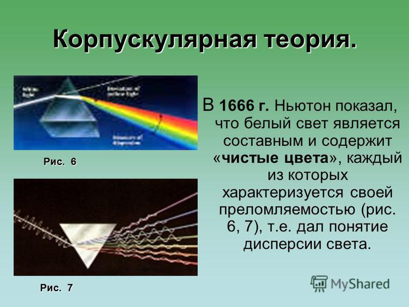 Корпускулярная теория. В 1666 г. Ньютон показал, что белый свет является составным и содержит «чистые цвета», каждый из которых характеризуется своей преломляемостью (рис. 6, 7), т.е. дал понятие дисперсии света. Рис. 6 Рис. 7