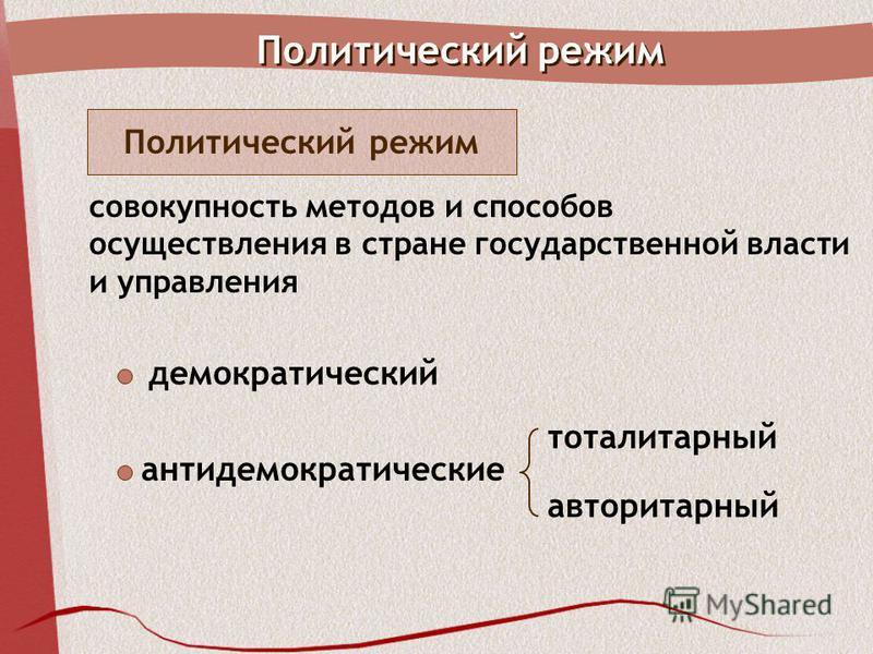 Политический режим совокупность методов и способов осуществления в стране государственной власти и управления демократический авторитарный тоталитарный антидемократические