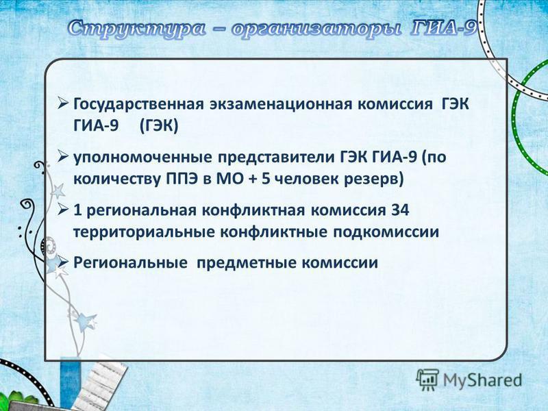 Государственная экзаменационная комиссия ГЭК ГИА-9 (ГЭК) уполномоченные представители ГЭК ГИА-9 (по количеству ППЭ в МО + 5 человек резерв) 1 региональная конфликтная комиссия 34 территориальные конфликтные подкомиссии Региональные предметные комисси