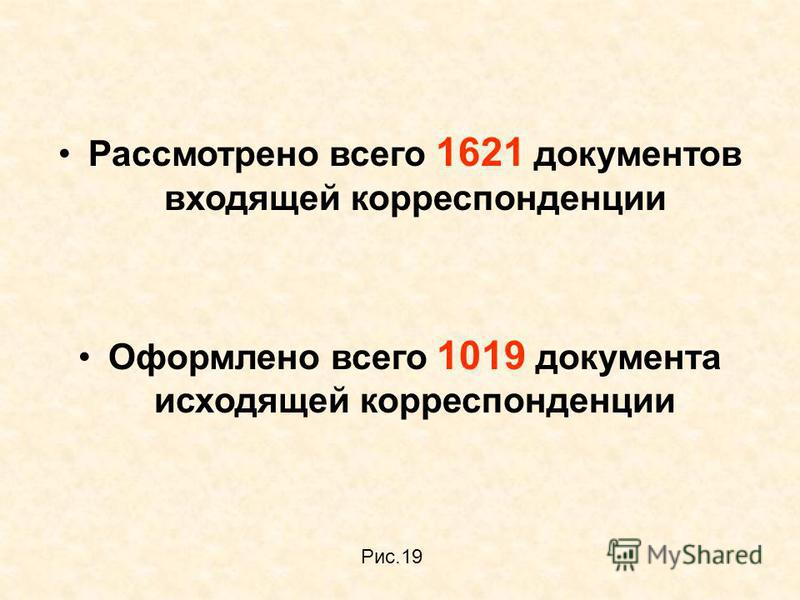 Рассмотрено всего 1621 документов входящей корреспонденции Оформлено всего 1019 документа исходящей корреспонденции Рис.19