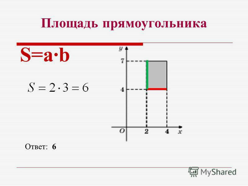 Площадь прямоугольника S=ab Ответ: 6