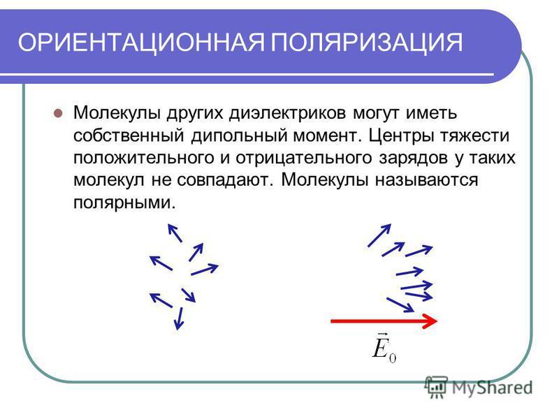 ОРИЕНТАЦИОННАЯ ПОЛЯРИЗАЦИЯ Молекулы других диэлектриков могут иметь собственный дипольный момент. Центры тяжести положительного и отрицательного зарядов у таких молекул не совпадают. Молекулы называются полярными.