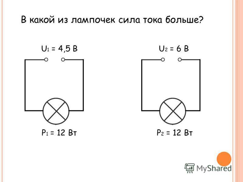 В какой из лампочек сила тока больше? U 1 = 4,5 ВU 2 = 6 В Р 1 = 12 ВтР 2 = 12 Вт