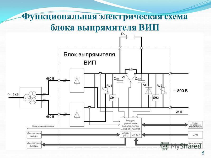 Функциональная электрическая схема блока выпрямителя ВИП 5