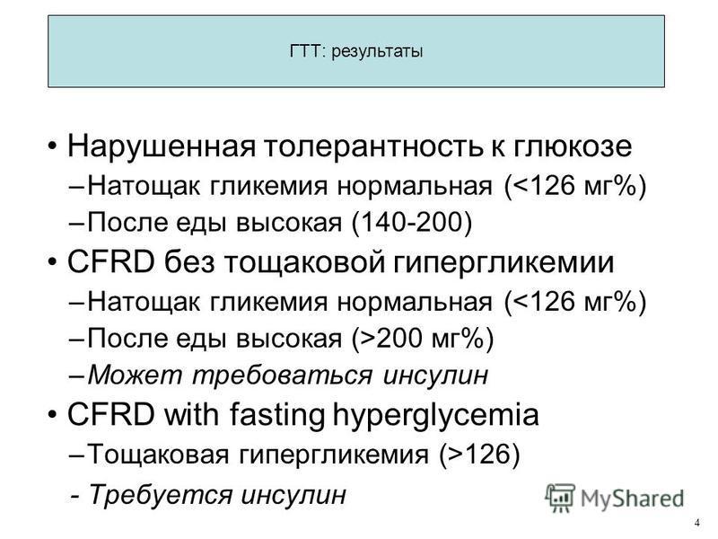 Нарушенная толерантность к глюкозе –Натощак гликемия нормальная (126) - Требуется инсулин 4 ГТТ: результаты
