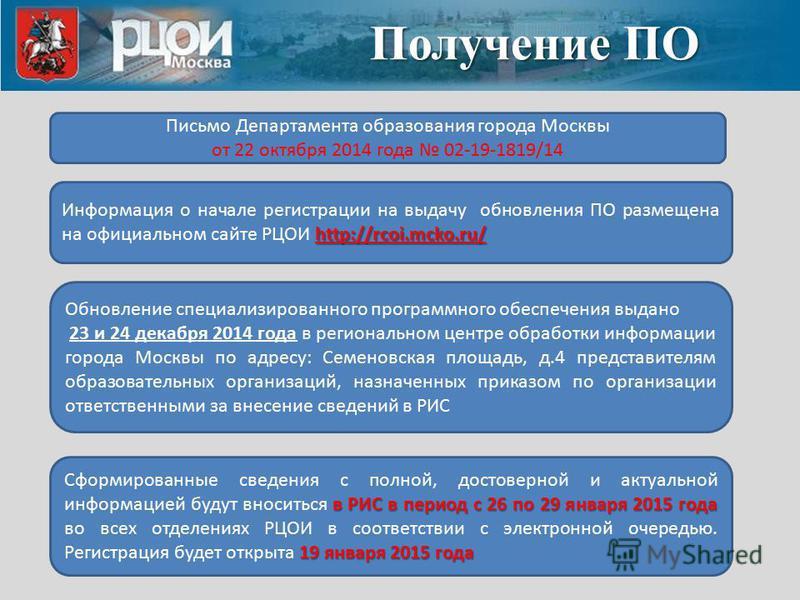 Получение ПО Письмо Департамента образования города Москвы от 22 октября 2014 года 02-19-1819/14 http://rcoi.mcko.ru/ Информация о начале регистрации на выдачу обновления ПО размещена на официальном сайте РЦОИ http://rcoi.mcko.ru/ Обновление специали