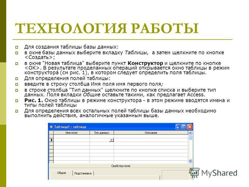 ТЕХНОЛОГИЯ РАБОТЫ Для создания таблицы базы данных: в окне базы данных выберите вкладку Таблицы, а затем щелкните по кнопке ; в окне