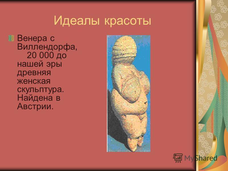 Идеалы красоты Венера с Виллендорфа, 20 000 до нашей эры древняя женская скульптура. Найдена в Австрии.
