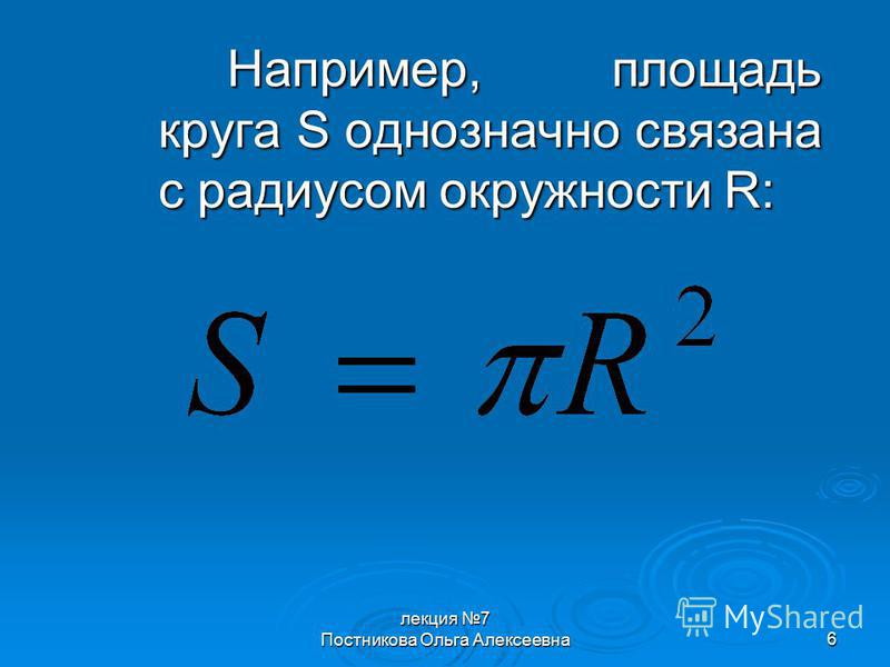 лекция 7 Постникова Ольга Алексеевна 6 Например, площадь круга S однозначно связана с радиусом окружности R: