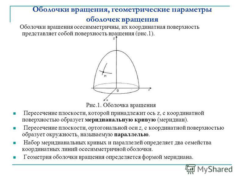 Оболочки вращения, геометрические параметры оболочек вращения Оболочки вращения осесимметричны, их координатная поверхность представляет собой поверхность вращения (рис.1). Рис.1. Оболочка вращения Пересечение плоскости, которой принадлежит ось z, с