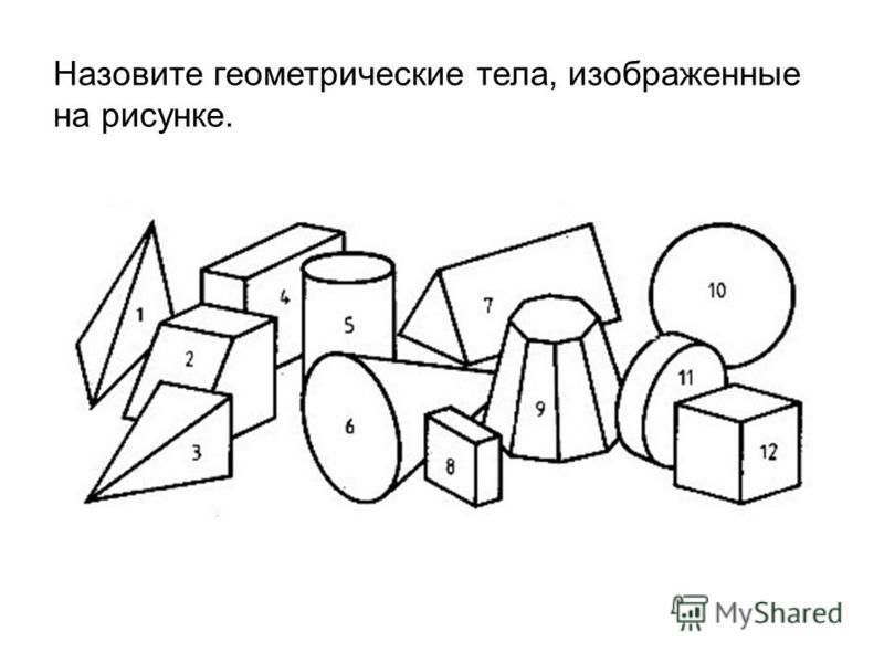 Назовите геометрические тела, изображенные на рисунке.