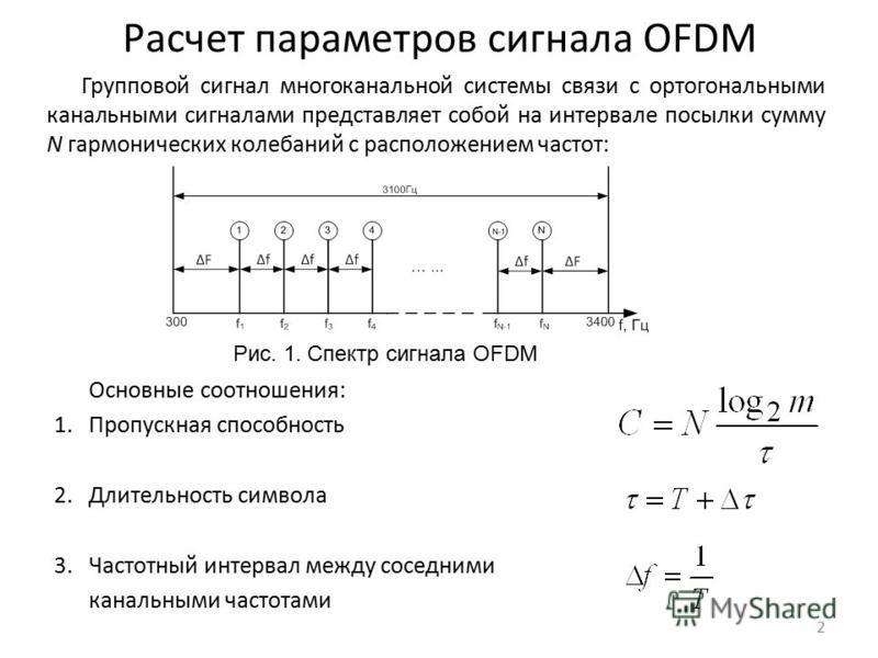 Расчет параметров сигнала OFDM Групповой сигнал многоканальной системы связи с ортогональными канальными сигналами представляет собой на интервале посылки сумму N гармонических колебаний с расположением частот: 2 Основные соотношения: 1. Пропускная с