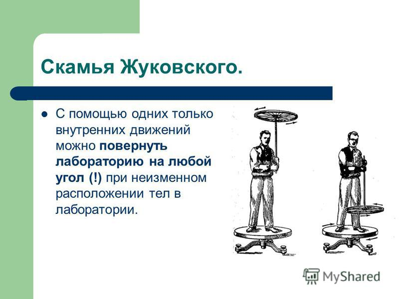 Скамья Жуковского. С помощью одних только внутренних движений можно повернуть лабораторию на любой угол (!) при неизменном расположении тел в лаборатории.
