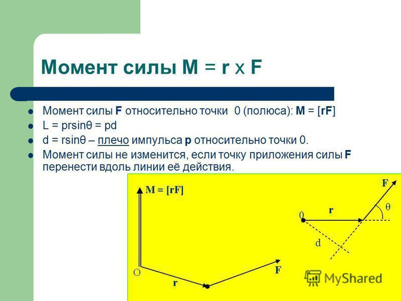 Момент силы M = r x F Момент силы F относительно точки 0 (полюса): M = [rF] L = prsinθ = pd d = rsinθ – плечо импульса p относительно точки 0. Момент силы не изменится, если точку приложения силы F перенести вдоль линии её действия.