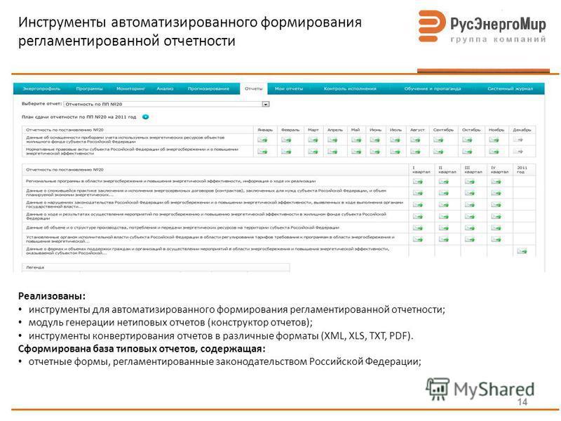 Инструменты автоматизированного формирования регламентированной отчетности Реализованы: инструменты для автоматизированного формирования регламентированной отчетности; модуль генерации нетиповых отчетов (конструктор отчетов); инструменты конвертирова