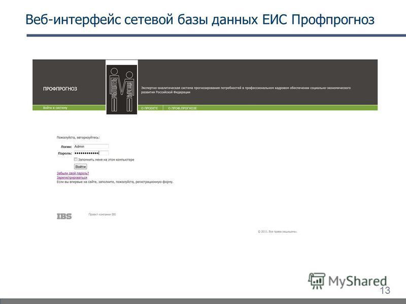 13 Веб-интерфейс сетевой базы данных ЕИС Профпрогноз