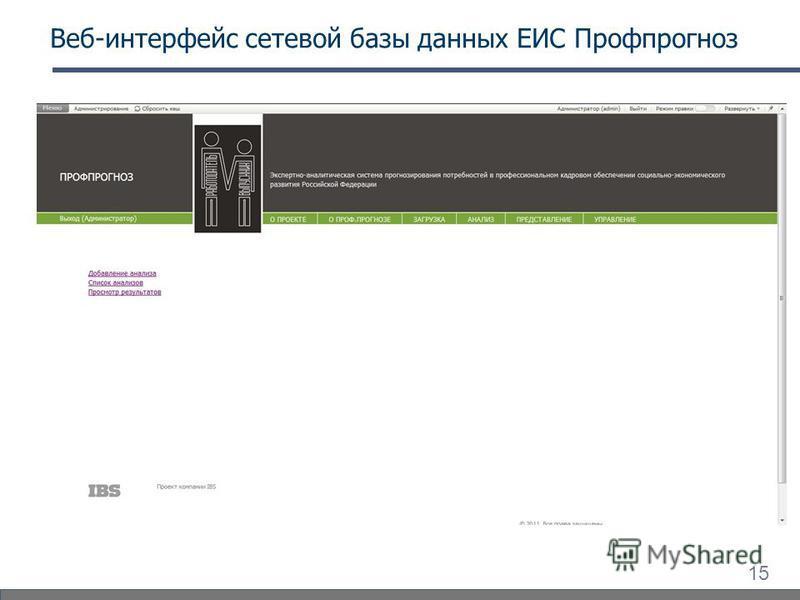 15 Веб-интерфейс сетевой базы данных ЕИС Профпрогноз