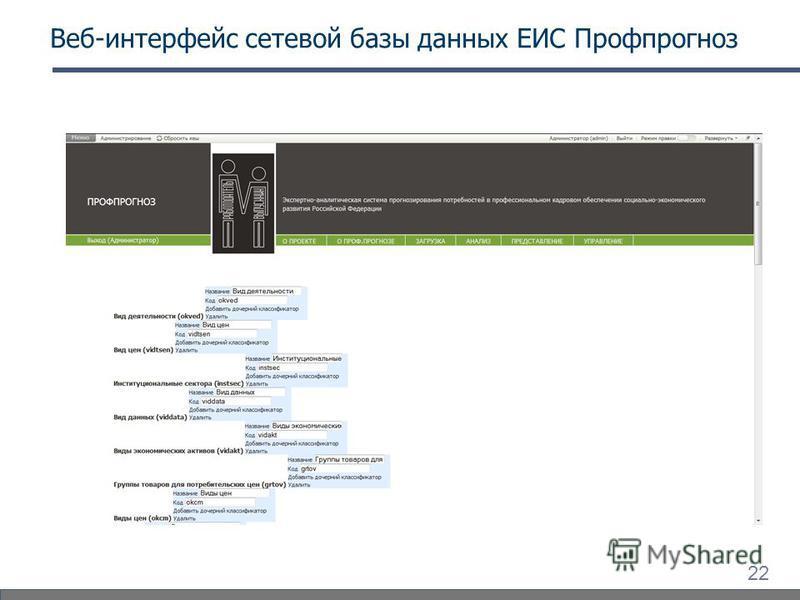 22 Веб-интерфейс сетевой базы данных ЕИС Профпрогноз