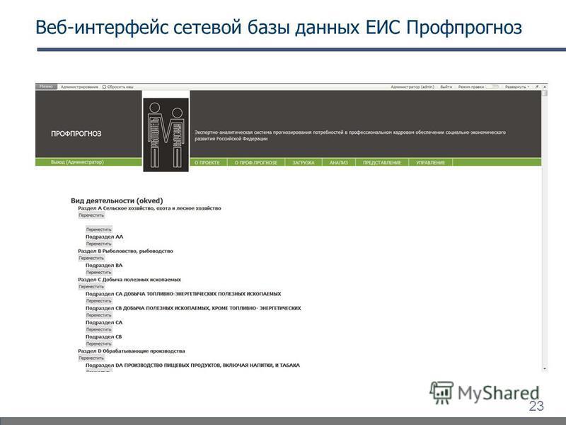 23 Веб-интерфейс сетевой базы данных ЕИС Профпрогноз