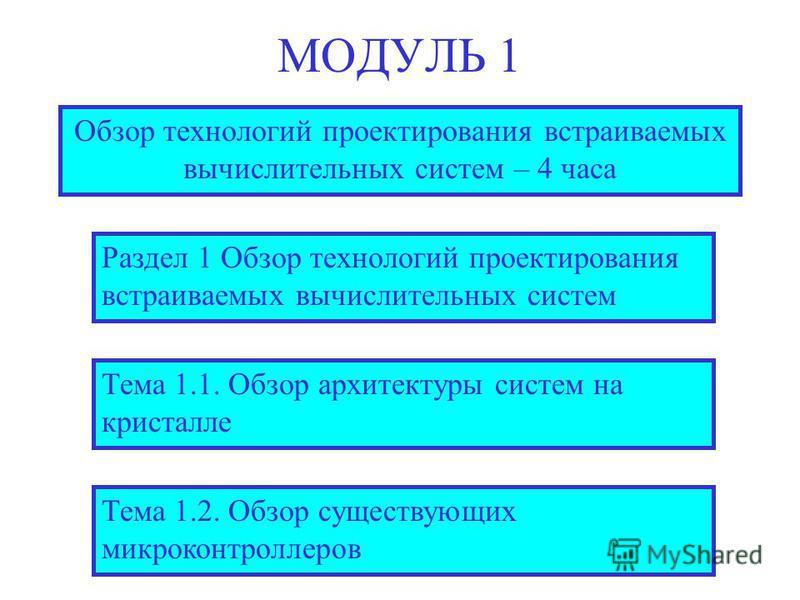 МОДУЛЬ 1 Обзор технологий проектирования встраиваемых вычислительных систем – 4 часа Тема 1.1. Обзор архитектуры систем на кристалле Тема 1.2. Обзор существующих микроконтроллеров Раздел 1 Обзор технологий проектирования встраиваемых вычислительных с