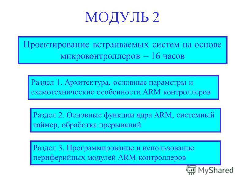 МОДУЛЬ 2 Проектирование встраиваемых систем на основе микроконтроллеров – 16 часов Раздел 2. Основные функции ядра ARM, системный таймер, обработка прерываний Раздел 3. Программирование и использование периферийных модулей ARM контроллеров Раздел 1.