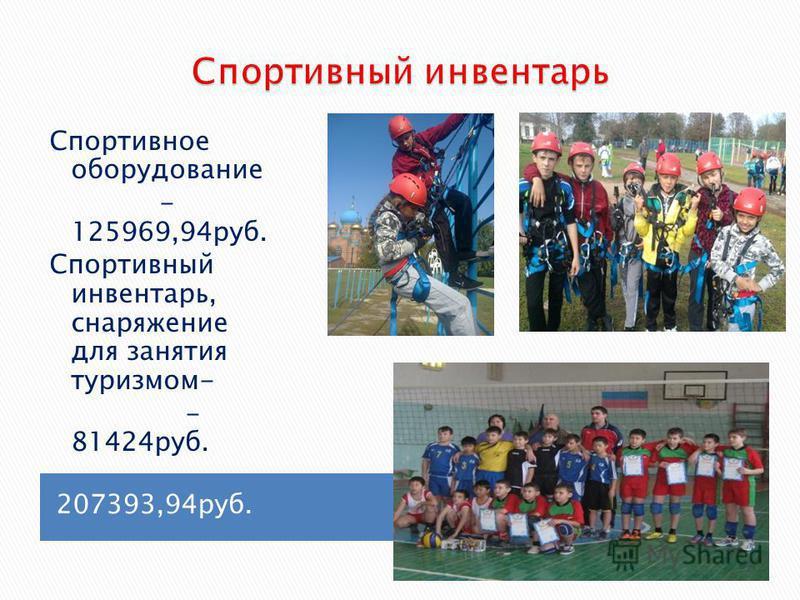 207393,94 руб. Спортивное оборудование - 125969,94 руб. Спортивный инвентарь, снаряжение для занятия туризмом- - 81424 руб.