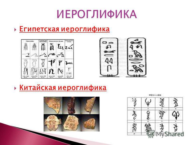 Египетская иероглифика Китайская иероглифика
