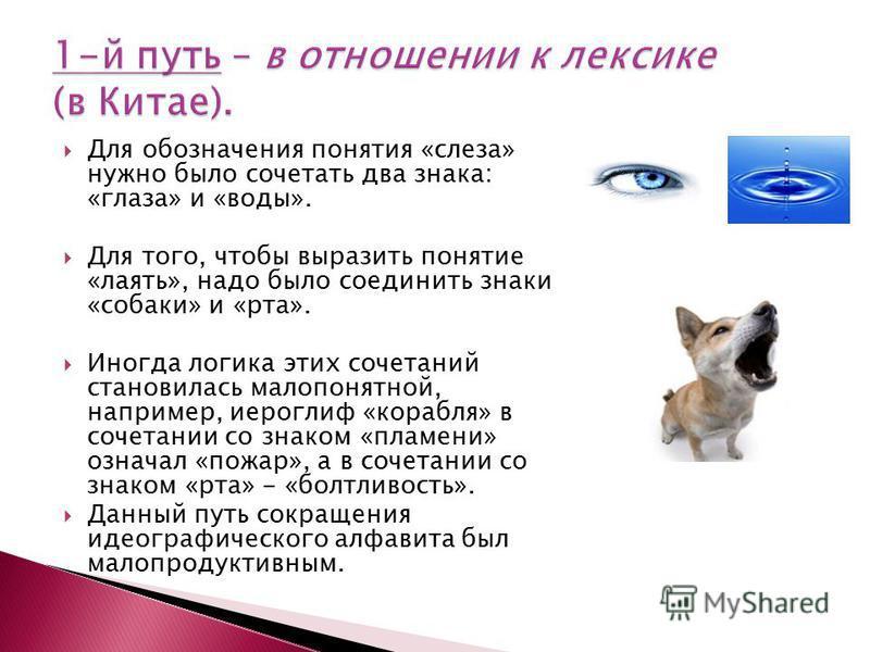Для обозначения понятия «слеза» нужно было сочетать два знака: «глаза» и «воды». Для того, чтобы выразить понятие «лаять», надо было соединить знаки «собаки» и «рта». Иногда логика этих сочетаний становилась малопонятной, например, иероглиф «корабля»