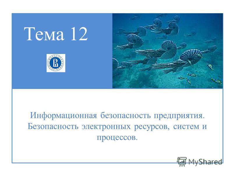 Тема 12 Информационная безопасность предприятия. Безопасность электронных ресурсов, систем и процессов.