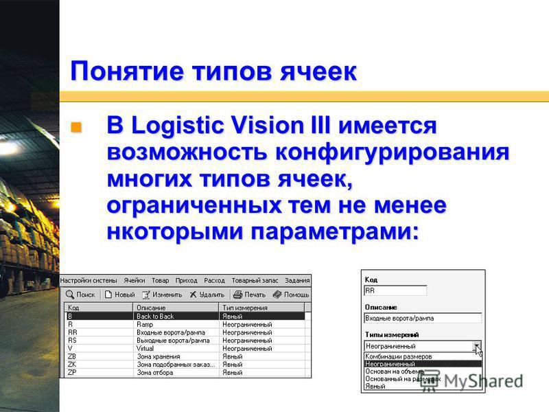Понятие типов ячеек В Logistic Vision III имеется возможность конфигурирования многих типов ячеек, ограниченных тем не менее некоторыми параметрами: В Logistic Vision III имеется возможность конфигурирования многих типов ячеек, ограниченных тем не ме
