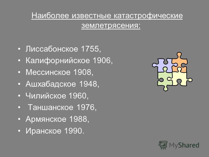 Наиболее известные катастрофические землетрясения: Лиссабонское 1755, Калифорнийское 1906, Мессинское 1908, Ашхабадское 1948, Чилийское 1960, Таншанское 1976, Армянское 1988, Иранское 1990.
